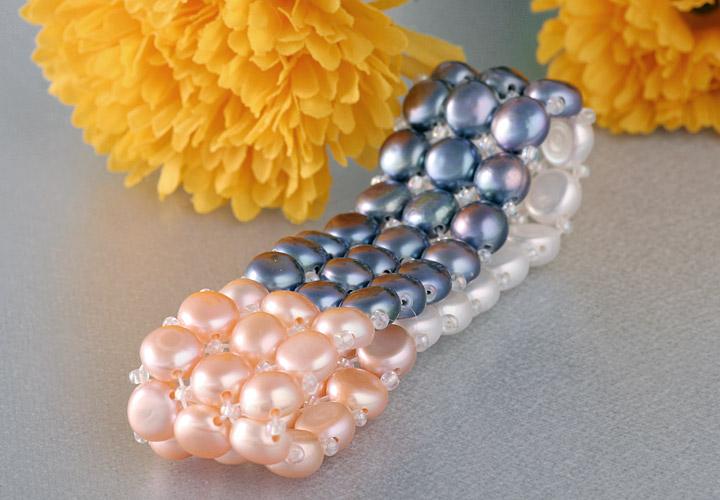 Zuchtperlenarmband 3-Reihig 3-Farbig kräftige Farben