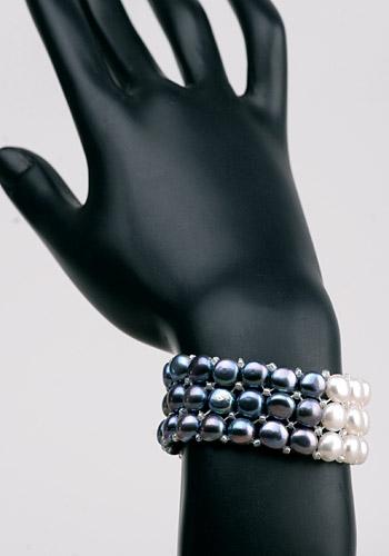 Perlenarmband 3-Reihig 3-Farbig