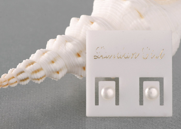 Perlenohrstecker 4mm Weiß