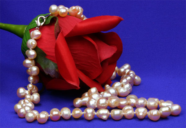 Echte Zucht-Perlenkette reisförmig rose UVP99€ NEU