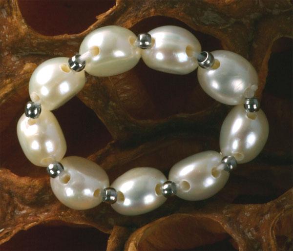 Zuchtperlen Ring 1-Reihig mit Silbernen Kugeln Echte Süsswasser Perlen