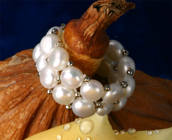 Echter Zuchtperlen Perlenring 2-Reihig Weiss