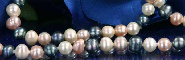 Echtes Zucht-Perlenset Bunt 6mm Armband + Kette NEU