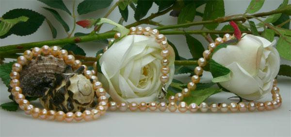Echtes Zucht-Perlenset Rose 6mm Armband + Kette NEU