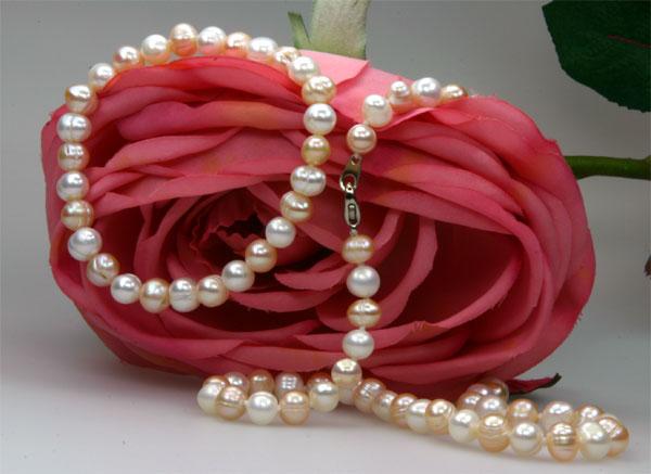 Echtes Zucht-Perlenset weiss-rose 7-8mm Armb.+Kette NEU