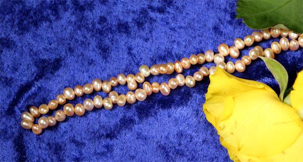 Süßwasser Zucht-Perlen-Strang -rosa-