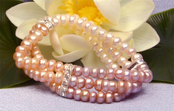3-reihiges, 3-farbiges dehnbares Perlenarmband